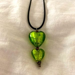 "22"" to 24"" Green glass heart necklace"